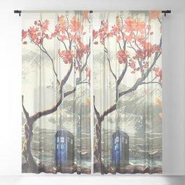 Tardis Art And The Tree Blossom Sheer Curtain