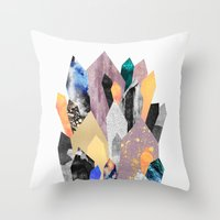 crystals Throw Pillows featuring Crystals by Elisabeth Fredriksson