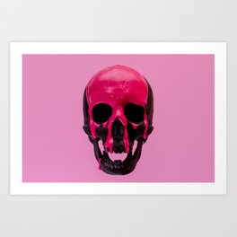 Pink Dripping Skull Art Print