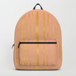 Golden and Pink Stripes Pattern Backpack