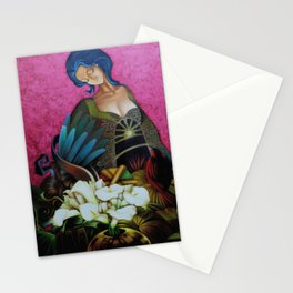 Flower Seller floral calla lilies and red bird fuchsia pink portrait painting Stationery Cards