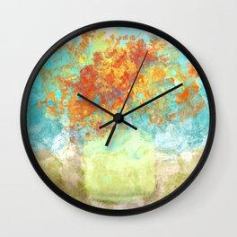 Orange Bouquet in Yellow Vase Wall Clock
