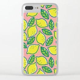 Lemons pattern Clear iPhone Case