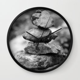 stones at the waterfall stream near the ruins in Flintsbach Wall Clock