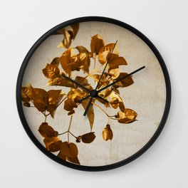 golden flowers Wall Clock