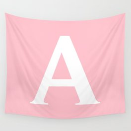 A MONOGRAM (WHITE & PINK) Wall Tapestry
