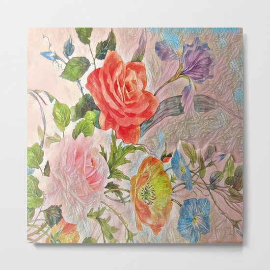 Spring Floral - Painterly Metal Print