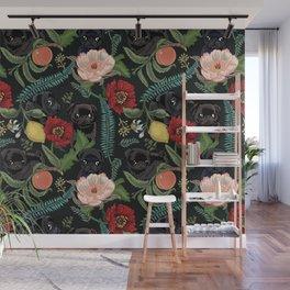 Botanical and Black Pugs Wall Mural