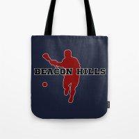 lacrosse Tote Bags featuring Beacon Hills Lacrosse by Keyweegirlie
