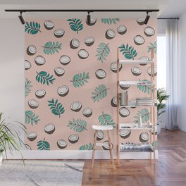 Little coconut garden summer surf palm leaves pink Wall Mural
