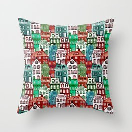 Christmas Village in Watercolor Red + Green Throw Pillow