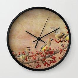 Cedar Waxwings Gathering Wall Clock