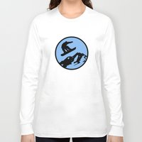 snowboarding Long Sleeve T-shirts featuring snowboarding 3 by Paul Simms