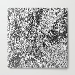 Sand and shells in black and white Metal Print