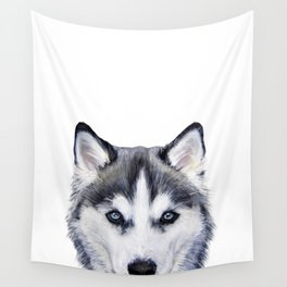 Siberian Husky original painting by Miart Wall Tapestry