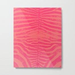Zebra Stripes | Coral & Pink | Watercolor Animal Print Art Metal Print