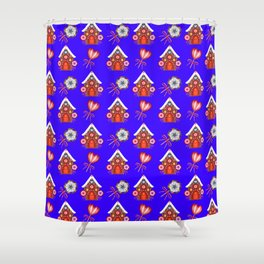 gingerbread houses, colorful sweet lollipops. Retro vintage cute Christmas blue pattern Shower Curtain