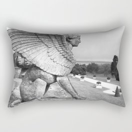 Black and White Photograph of Sphinx Statue Rectangular Pillow