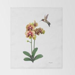 Hummingbird & Phalaenopsis Throw Blanket