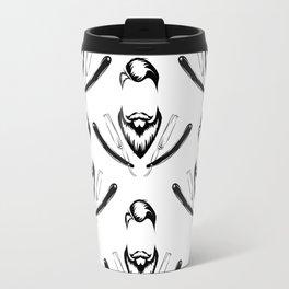 Manly Beard and Straight Razor Pattern Travel Mug