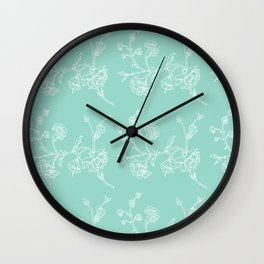 white flowers on blue background ( https://society6.com/totalflora/collection Wall Clock