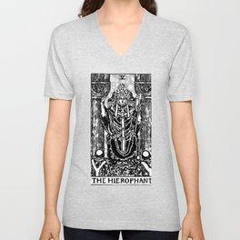 Floral Tarot Print - The Hierophant Unisex V-Neck