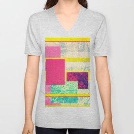 Colorful modern watercolor shapes stripes pattern Unisex V-Neck