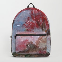 Watercolor Brilliant Night Landscape Backpack
