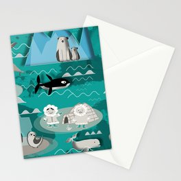 Arctic animals teal Stationery Cards