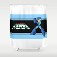 mega man Shower Curtains featuring mega man vintage by OverClocked