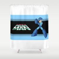 mega man Shower Curtains featuring mega man vintage by OverClocked