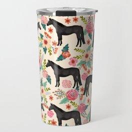 Black Horse Floral - cream, black beauty, horse, arabian horse, florals, floral, horse blanket, Travel Mug