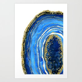 Cobalt blue and gold geode in watercolor (2) Art Print