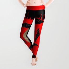 HALLOWEEN BAT INFESTED HAUNTED SKULL RED ART DESIGN Leggings
