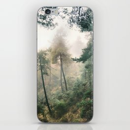 """Into the woods"". Wandering into the fog iPhone Skin"