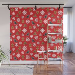 Christmas / Winter Robin Holly Gingerbread Man Snowflakes Pattern Red Wall Mural
