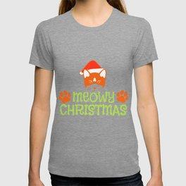 Cat Christmas Hat Miau Christmas Gift T-shirt