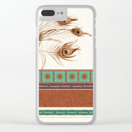 Peacock Feathers and Graphic Stripes and Tile Clear iPhone Case