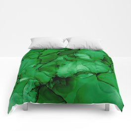 Deep Green Abstract: Original Alcohol Ink Painting Comforters
