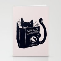 shit Stationery Cards featuring World Domination For Cats by Tobe Fonseca