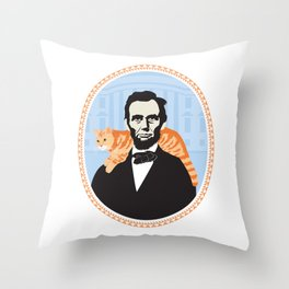 Abe Lincoln the first president to bring a cat to the White House Throw Pillow