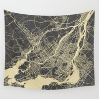 montreal Wall Tapestries featuring Montreal Map by Map Map Maps