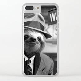 Sloth in Wall Street Clear iPhone Case