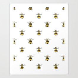 Bee Friends Pattern Art Print