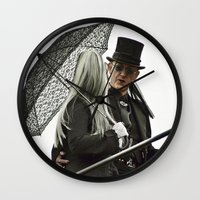 goth Wall Clocks featuring GOTH COUPLE by Kathead Tarot/David Rivera
