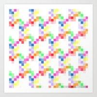 pixel Art Prints featuring Pixel by AJJ ▲ Angela Jane Johnston