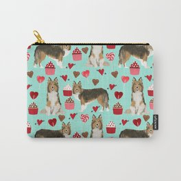 Sheltie shetland sheepdog valentines day love hearts cupcakes dog gifts puppies pet friendly art Carry-All Pouch