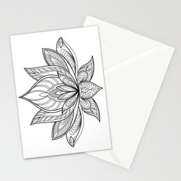 Lotus Line Drawing Stationery Cards