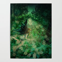 Abstract illustration of fairy fly in the forest Poster