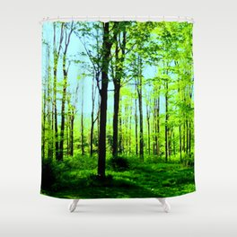 Sky Blue Morning Forest Shower Curtain